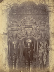 Three sculptures of Jain tirthankaras in the Bhand Dewal Temple, Arang